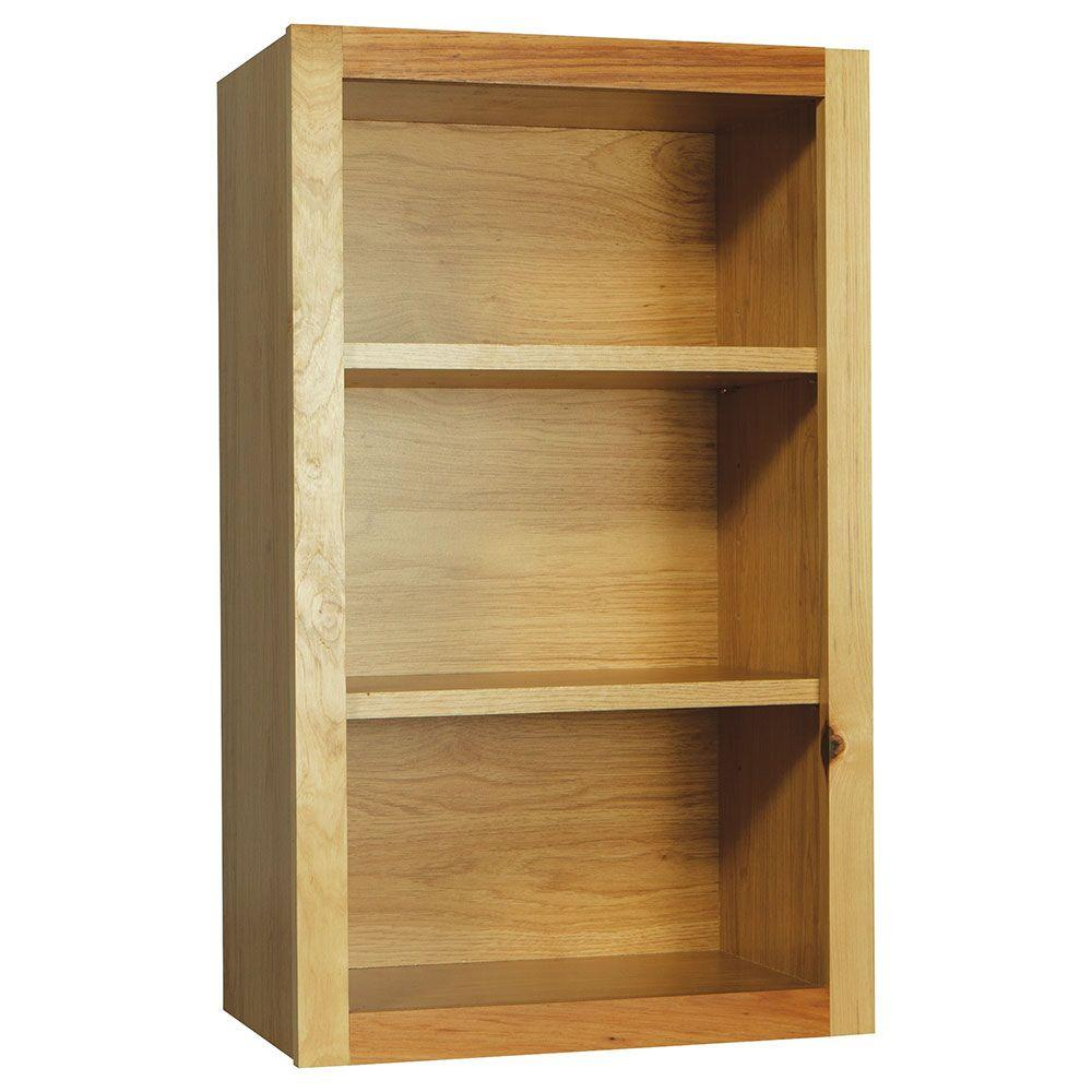 hamptonbay Hampton Bay Hampton Assembled 18x30x12 in. Wall Flex Kitchen Cabinet with Shelves and Dividers in Natural Hickory