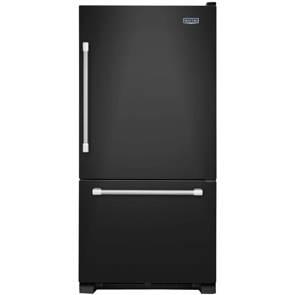 Maytag 30 in. W 18.7 cu. ft. Bottom Freezer Refrigerator in Black with Stainless Steel Handles