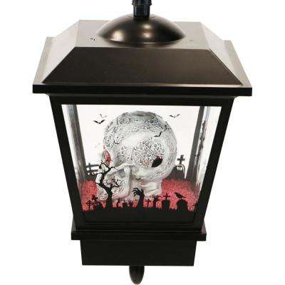 18 in. Orange Hanging Skull Halloween Lantern with Animation and Spooky Music
