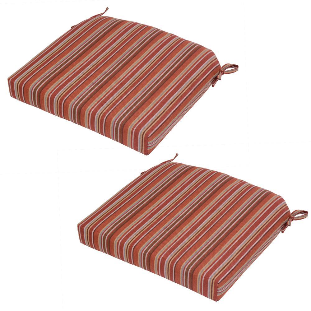 Dragonfruit Stripe Outdoor Seat Cushion (2-Pack)