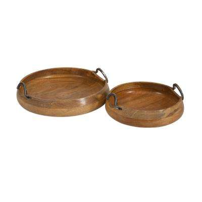 Round Wooden Trays (Set of 2)