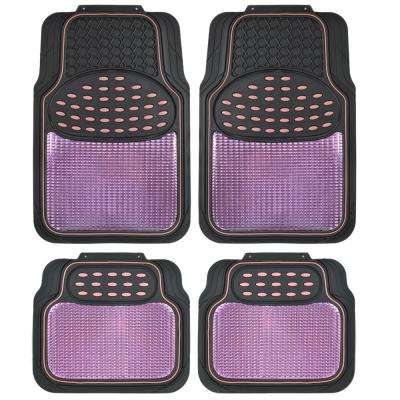 Rubber Metallic MT 614 Pink Trimmable Heavy Duty 4 Piece Car Floor Mats