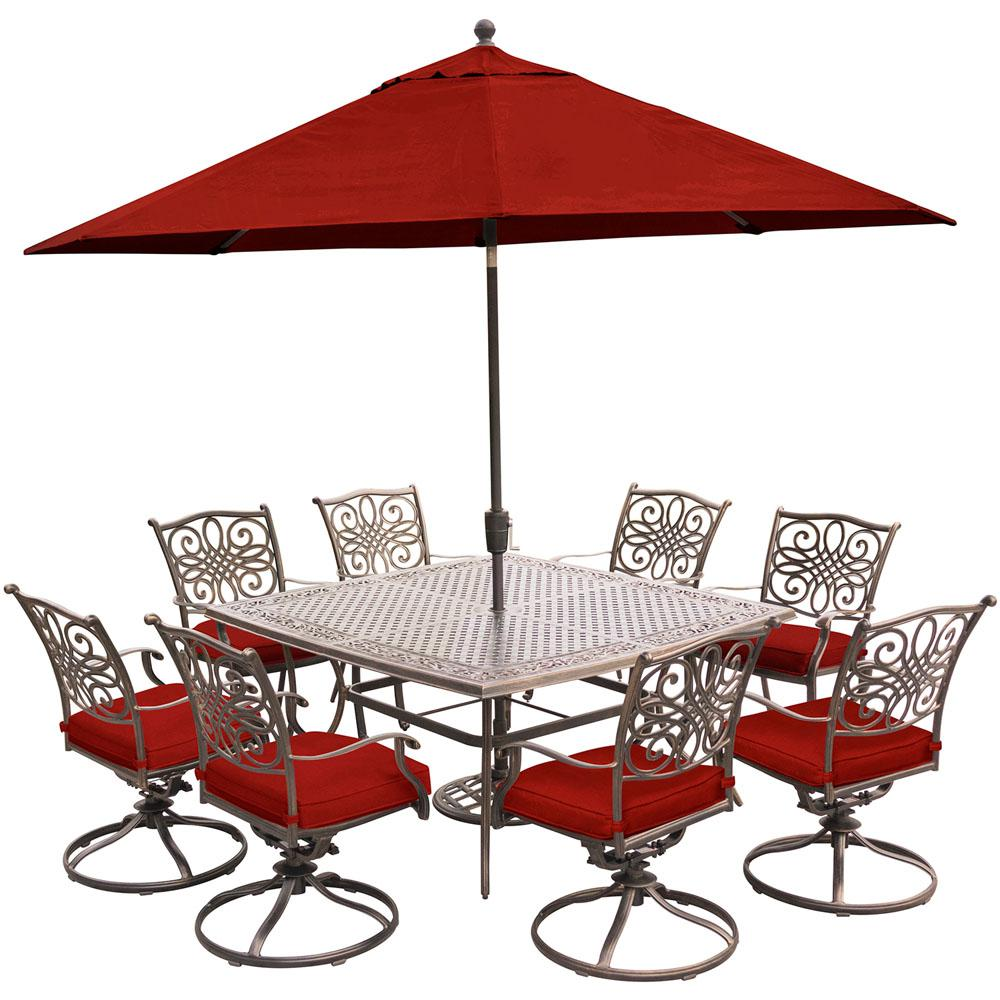 Hanover Traditions 9 Piece Aluminum Outdoor Dining Set With Red