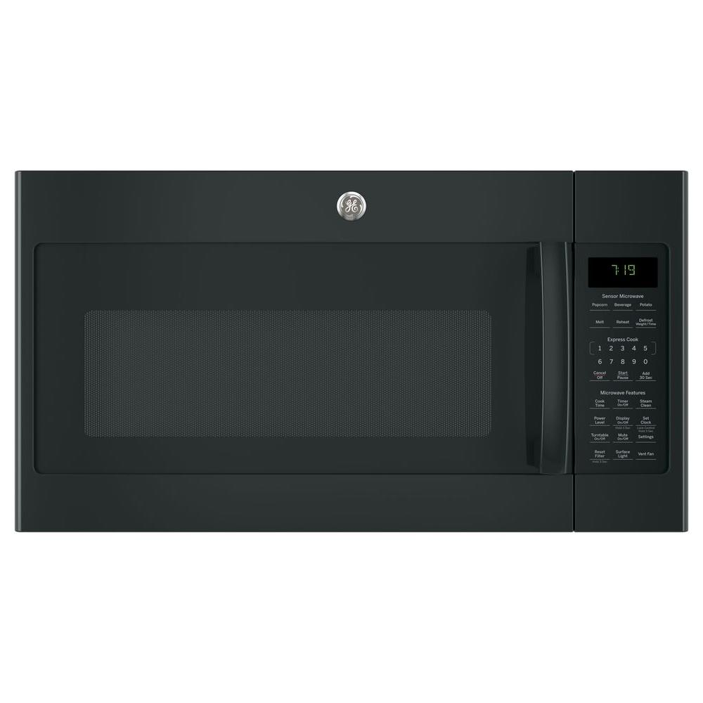 1.9 cu. ft. Over the Range Microwave in Black with Sensor Cooking Your GE 1.9 cu. ft. Over the Range Sensor Microwave Oven with Recirculating Venting in Black has 1000-Watt of power. Four-speed with boost, 400-CFM venting fan system quickly removes smoke, steam and odors from the cooktop to keep kitchen air fresh and clean. Weight and time defrost lets you simply enter the weight of the food, and the oven automatically sets the optimal defrosting time and power level or set your desired time for defrosting. GE appliances provide up-to-date technology and exceptional quality to simplify the way you live. With a timeless appearance, this family of appliances is ideal for your family. And, coming from one of the most trusted names in America, you know that this entire selection of appliances is as advanced as it is practical.