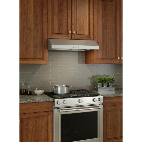 Broan Nutone Glacier 30 In 300 Cfm Convertible Under Cabinet Range Hood With Light In Stainless Steel Bcsq130ss The Home Depot