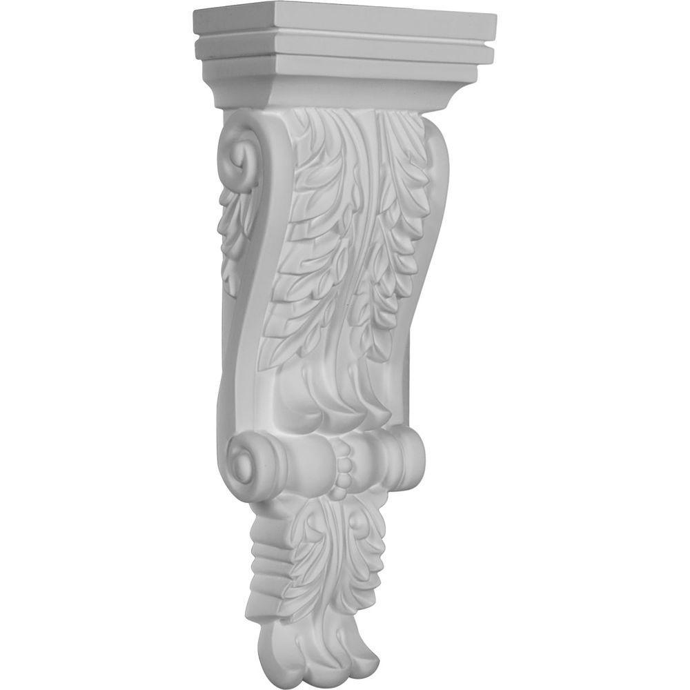 Ekena Millwork 4-3/4 in. x 2-3/4 in. x 12-1/4 in. Primed Polyurethane Legacy Acanthus Corbel