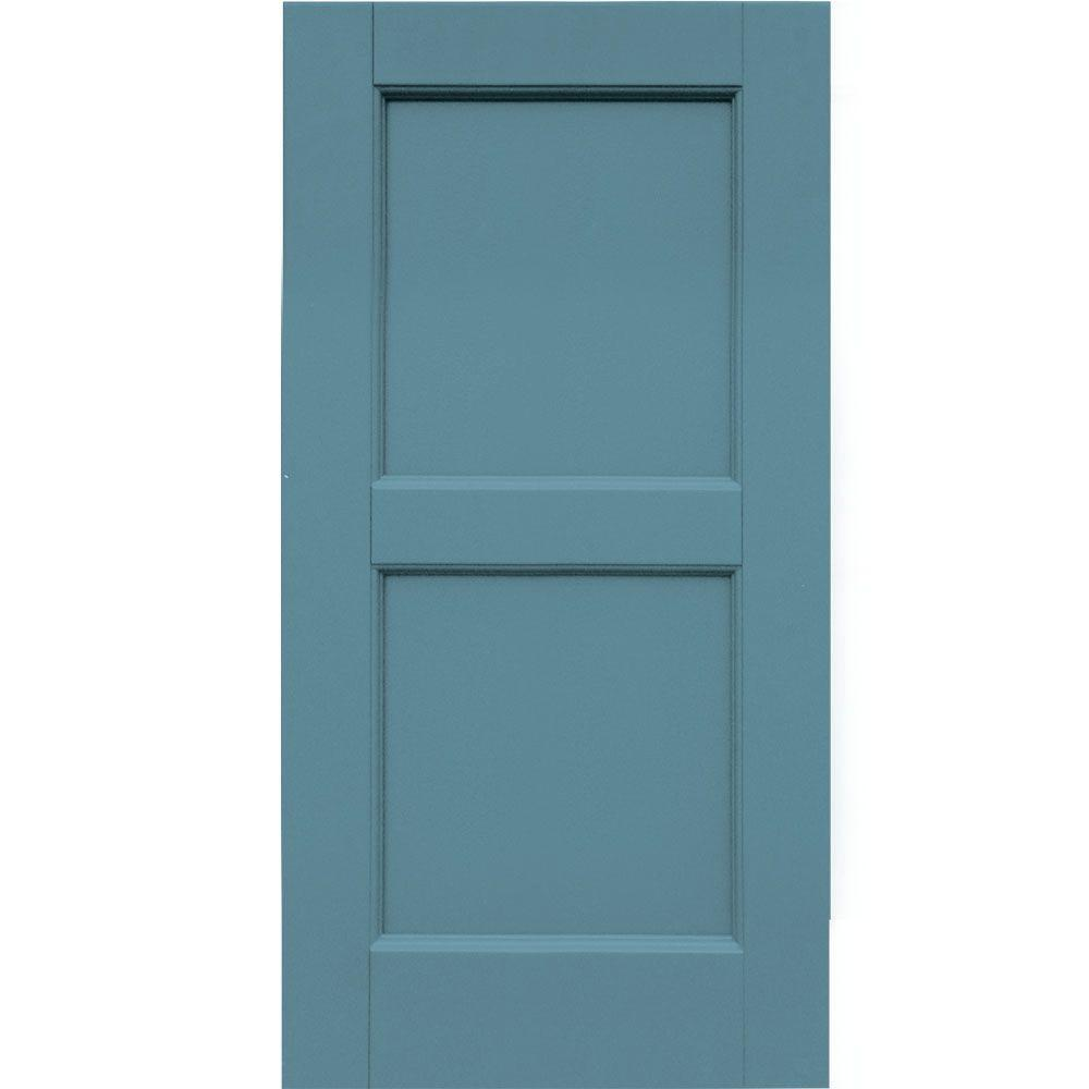 Winworks Wood Composite 15 in. x 30 in. Contemporary Flat Panel Shutters Pair #645 Harbor