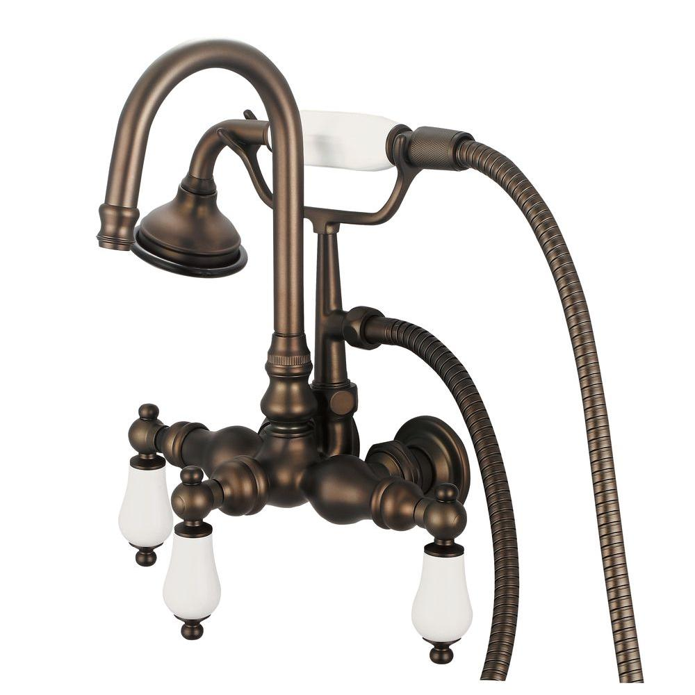 Water Creation 3-Handle Vintage Claw Foot Tub Faucet with Hand Shower and  Porcelain Lever