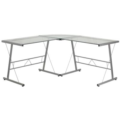 83.5 in. L-Shaped Clear/Silver Computer Desks with Glass Top