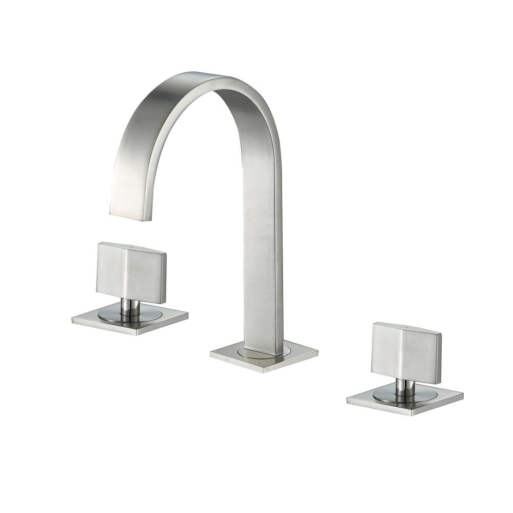 Luxier Contemporary 8 in. Widespread 2-Handle Bathroom Faucet with Pop-Up Drain in Brushed Nickel