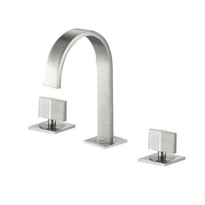 Contemporary 8 in. Widespread 2-Handle Bathroom Faucet with Pop-Up Drain in Brushed Nickel