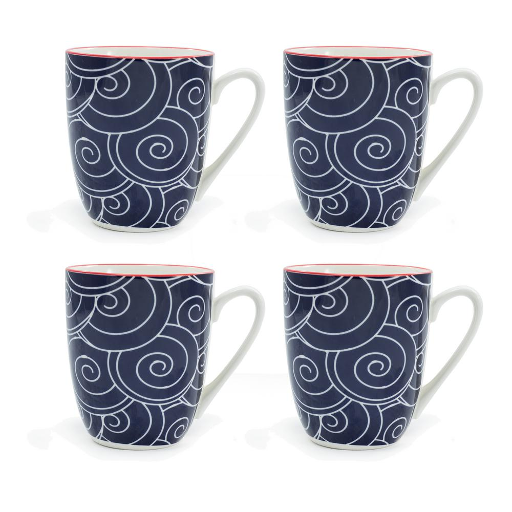 Frida Blue 12 oz. Porcelain Mug (Set of 4)