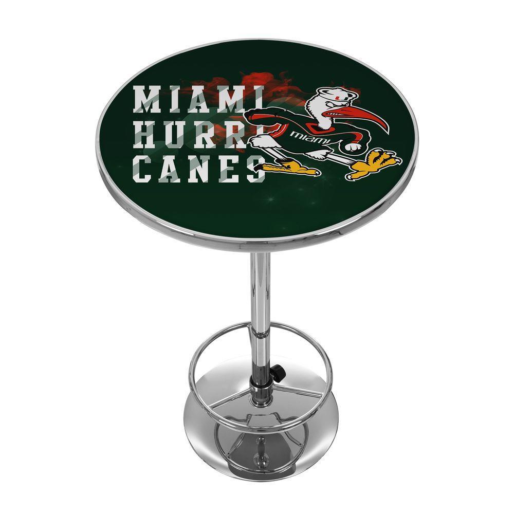 Trademark University of Miami Smoke Chrome Pub/Bar Table