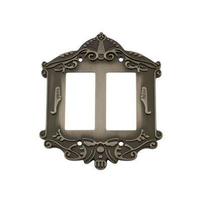 Victorian Switch Plate with Double Rocker in Antique Pewter