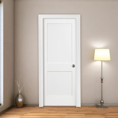 30 in. x 80 in. 2-Panel Square Shaker White Primed Solid Core Wood Interior Door Slab with Bore