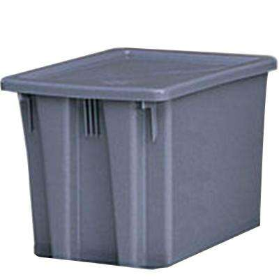 19-1/2 in. x 15-1/2 in. x 13 in. Gray Storage Box