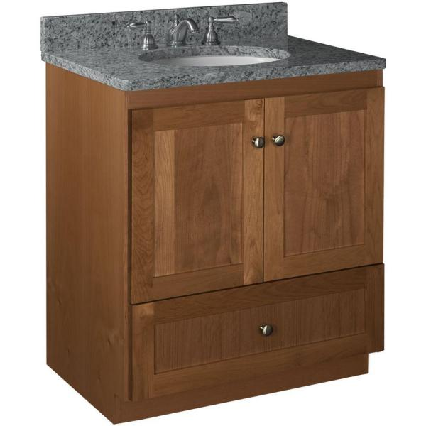 Shaker 30 in. W x 21 in. D x 34.5 in. H Vanity with No Side Drawers Cabinet Only in Medium Alder