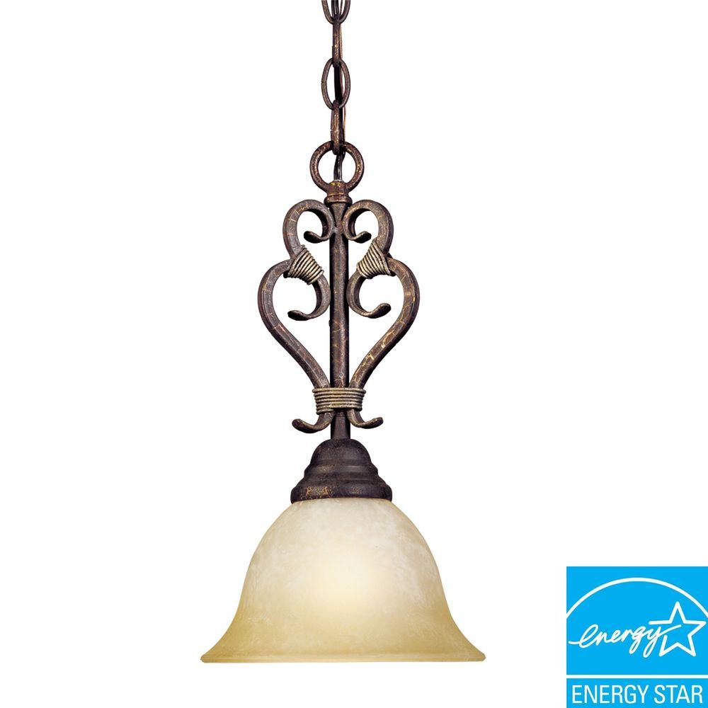 World Imports Olympus Tradition Collection 1-Light Crackled Bronze with Silver Mini Pendant