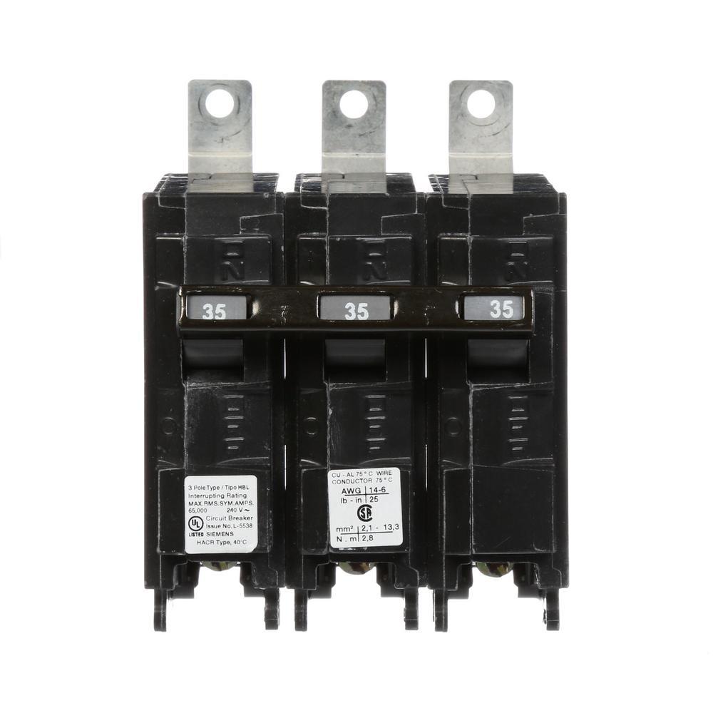 35 Amp 3-Pole Type HBL 65 kA Circuit Breaker