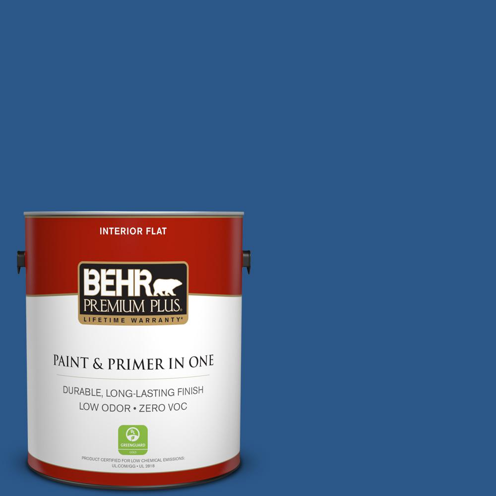 BEHR Premium Plus 1-gal. #S-G-590 Southern Blue Zero VOC Flat Interior Paint
