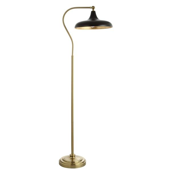 Stefan 68 in. Brass/Gold Arc Floor Lamp with Black/Gold Accent Shade