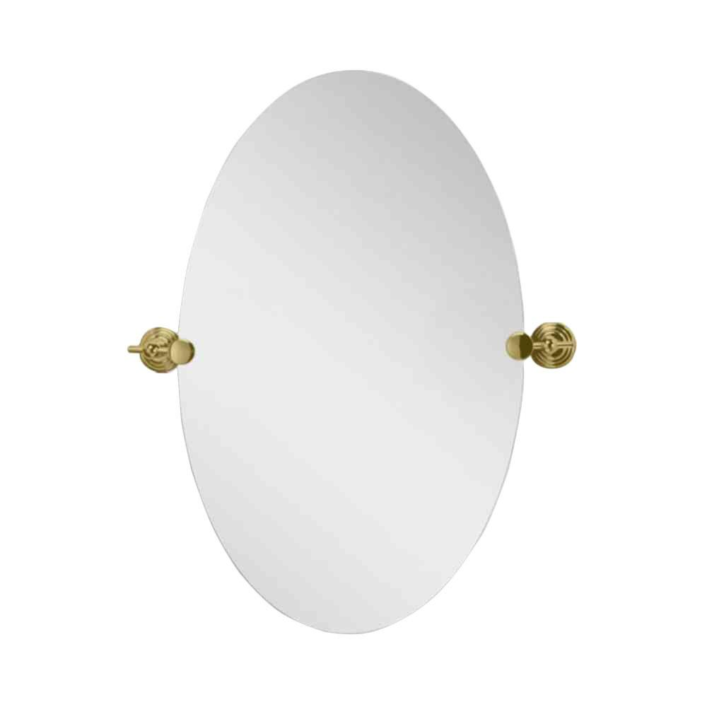 Deco Mirror 28 In L X 22 In W Polished Edge Oval Brass