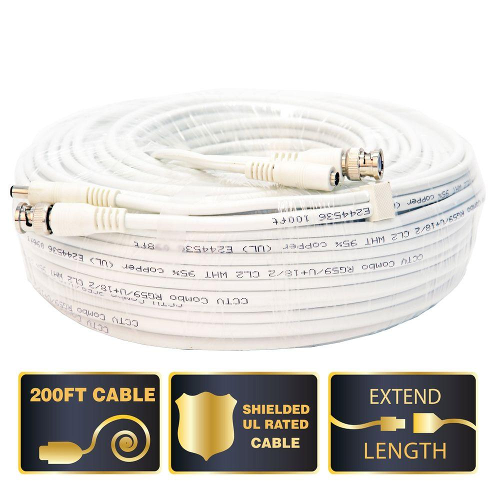 200 ft. Shielded Video and Power BNC Male Cable with 2