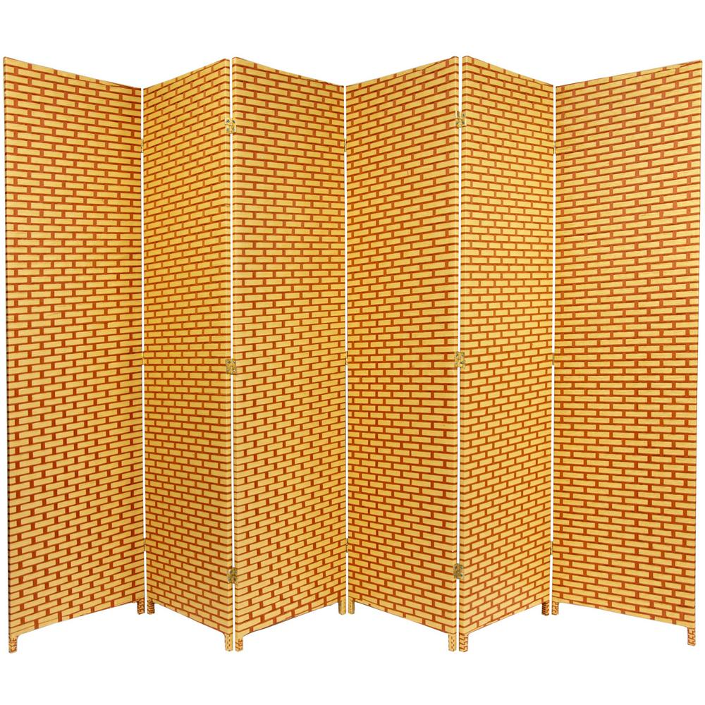 Oriental Furniture 6 Ft. Rust Woven Fiber 6 Panel Room Divider