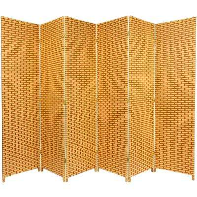 6 ft. Rust Woven Fiber 6-Panel Room Divider