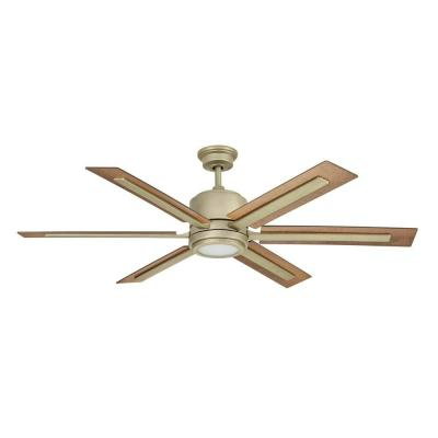 Palermo Grove 60 in. Integrated LED Indoor Antique Nickel Dual Mount Ceiling Fan with Light and Remote Control
