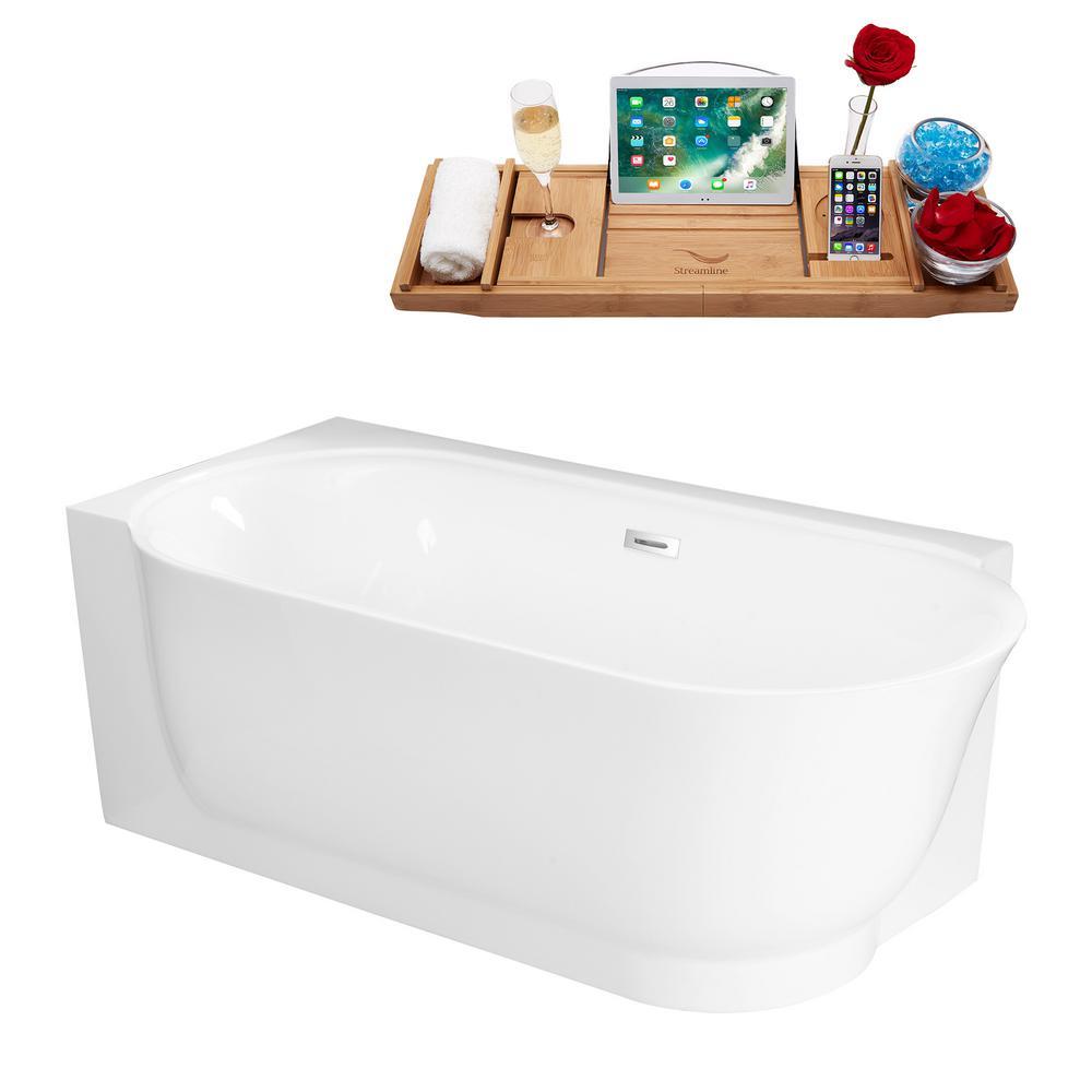 67 in. Acrylic Center Drain Corner Alcove Non-Whirlpool Bathtub in Glossy White