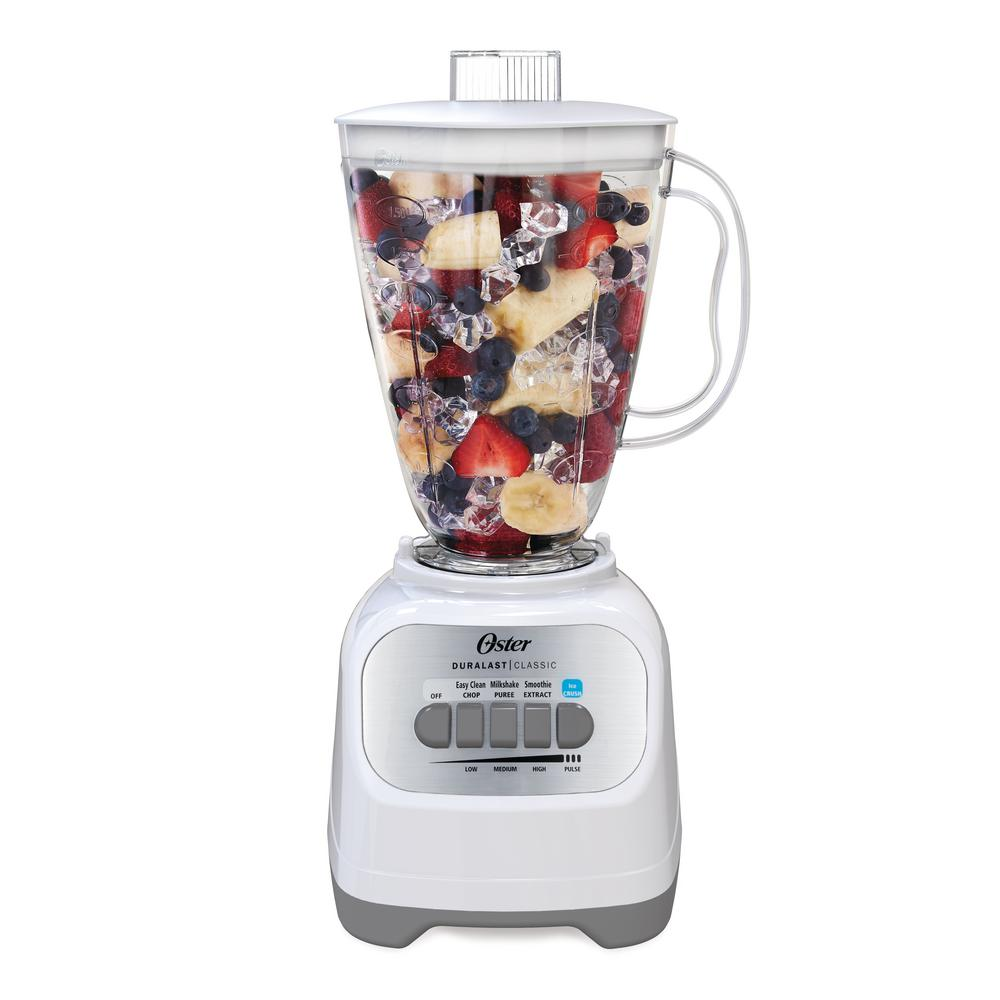 Classic Series White Blender Oster Classic Series Blender helps with everyday meals and snacks. Enjoy chunk-free smoothies and shakes, puree fresh vegetable soup or make salsa. The control panel is optimized for easy use and clear communication. Color: White.