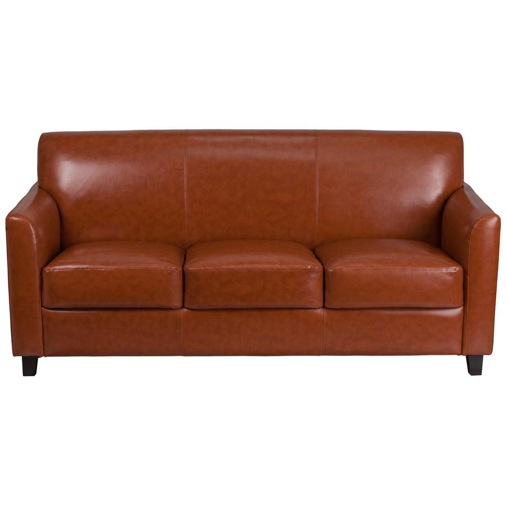 Amazing Cognac Faux Leather Sofa Pabps2019 Chair Design Images Pabps2019Com