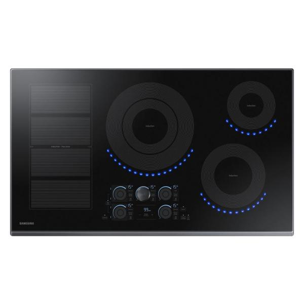 36 in. Induction Cooktop with Fingerprint Resistant Black Stainless Trim with 5 Elements and Flex Zone Element