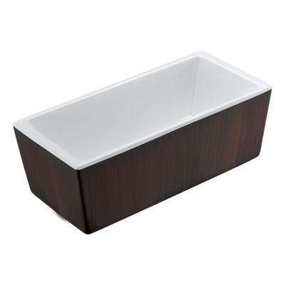 Rook 5.7 ft. Acrylic Flatbottom Non-Whirlpool Bathtub in Mahogany Style