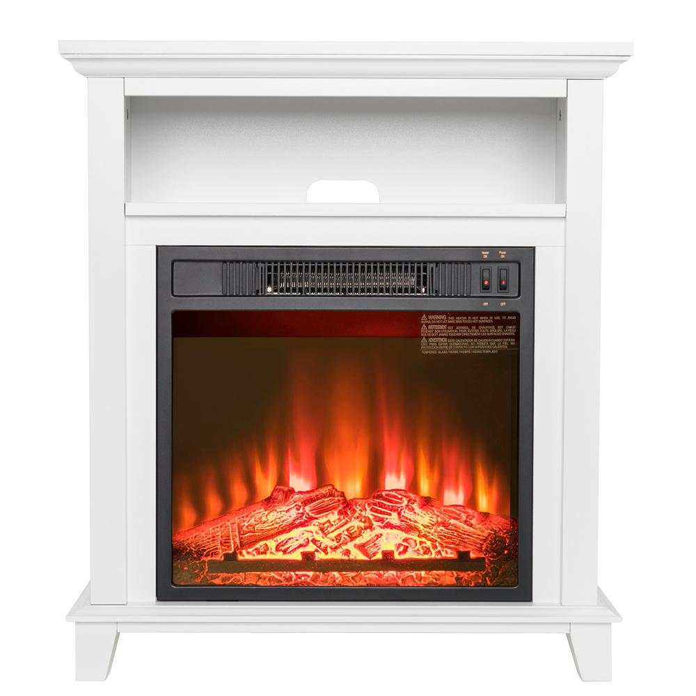 Freestanding Electric Fireplace Insert Heater In White With Tempered Gl Storage E