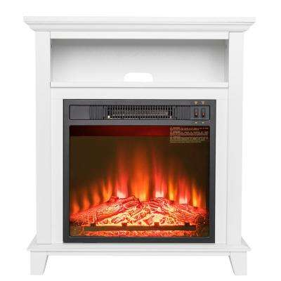 27 in. Freestanding Electric Fireplace insert Heater in White with Tempered Glass with Storage Space