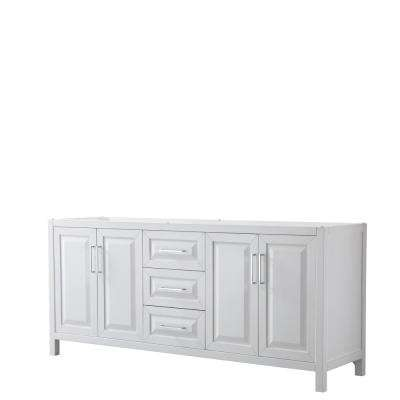 Daria 78.75 in. Double Bathroom Vanity Cabinet Only in White