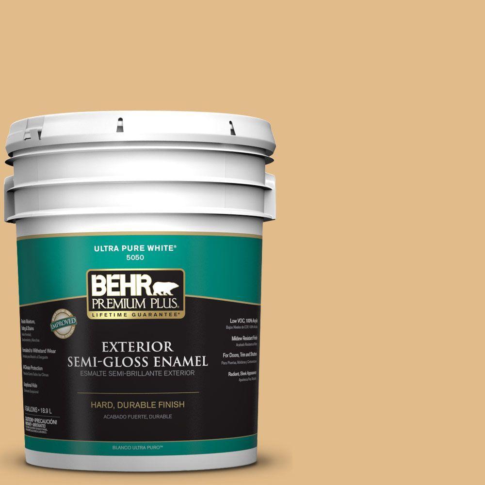 BEHR Premium Plus 5-gal. #M280-4 Royal Gold Semi-Gloss Enamel Exterior Paint