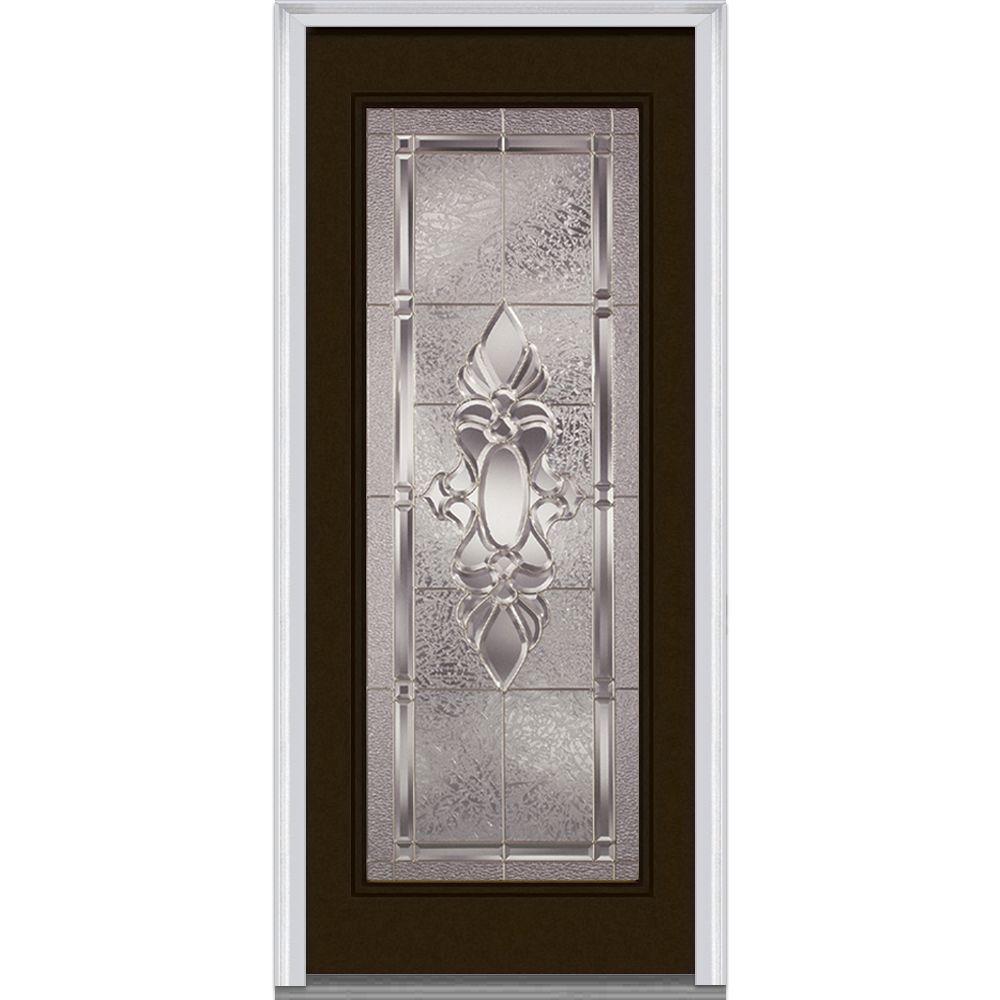 36 in. x 80 in. Heirlooms Left-Hand Inswing Full Lite Decorative Classic Painted Fiberglass Smooth Prehung Front Door