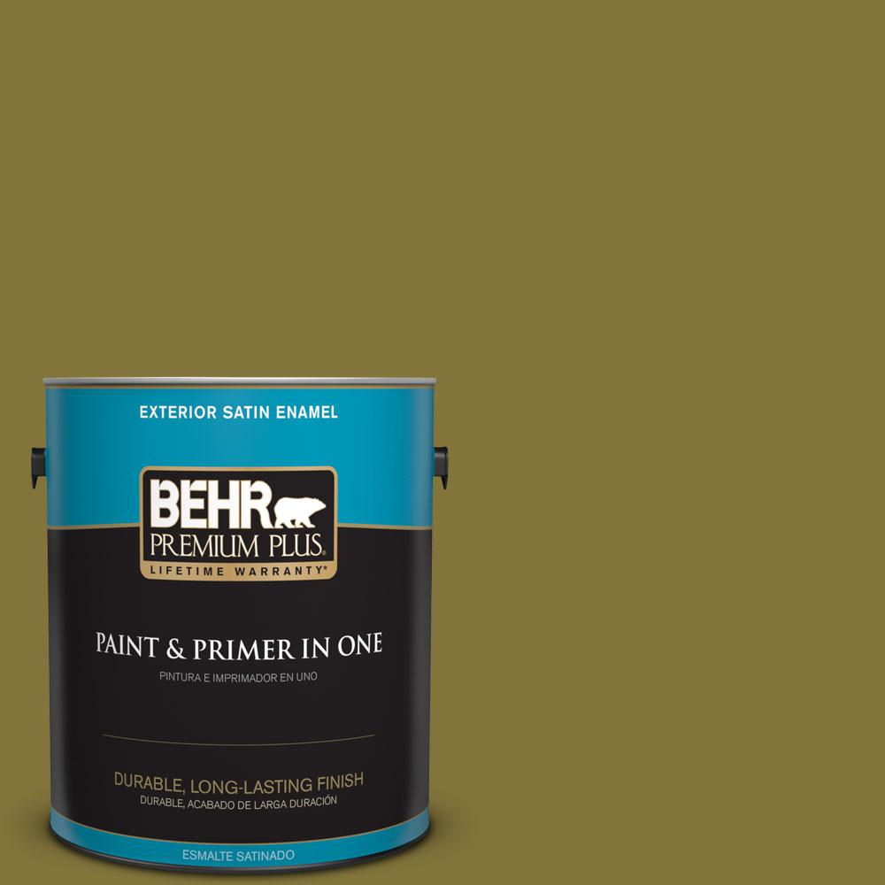 1-gal. #390D-7 Marsh Grass Satin Enamel Exterior Paint