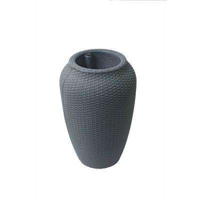 24 in. H x 15.5 in. L Charcoalstone Polyethylene Plastic Self-Watering Planter