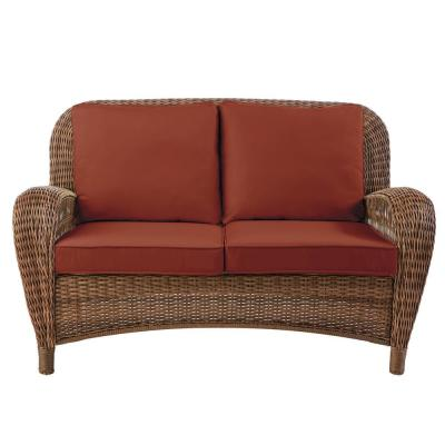 Beacon Park Brown Wicker Outdoor Patio Loveseat with Sunbrella Henna Red Cushions
