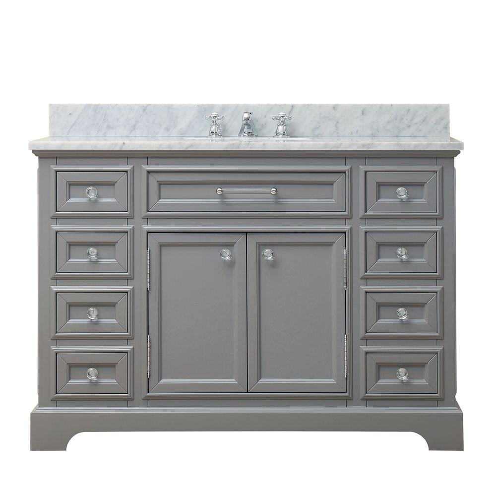 Water Creation 48 In W X 21 5 In D X 34 In H Vanity In Cashmere Grey With Marble Vanity Top In Carrara White Derby 48g The Home Depot
