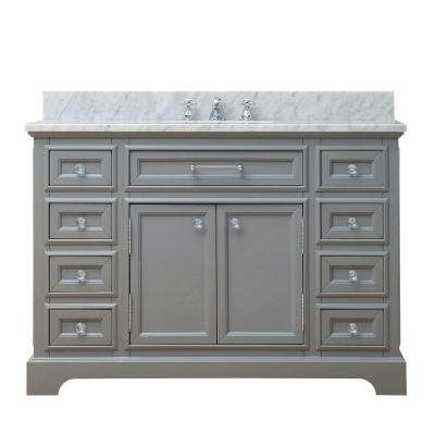 48 in. W x 21.5 in. D x 34 in. H Vanity in Cashmere Grey with Marble Vanity Top in Carrara White