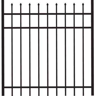 Cascade 4 ft. W x 4 ft. H Black Standard-Duty Aluminum Straight Pre-Assembled Fence Gate