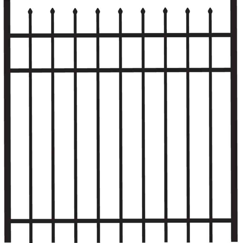 Cascade 4 ft. W x 4 ft. H Black Standard-Duty Aluminum Straight Pre-Assembled Fence Gate