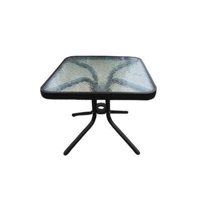 20 in. Round Tempered Glass-Top Black Outdoor Side Table with Aluminum Frame