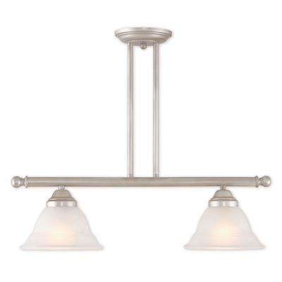 Wynnewood 2-Light Hand Applied Brushed Silver Linear Chandelier with Hand Applied Gray Marble Glass Shade