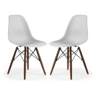 Vortex Side Chair Walnut Legs in Harbor Grey (Set of 2)